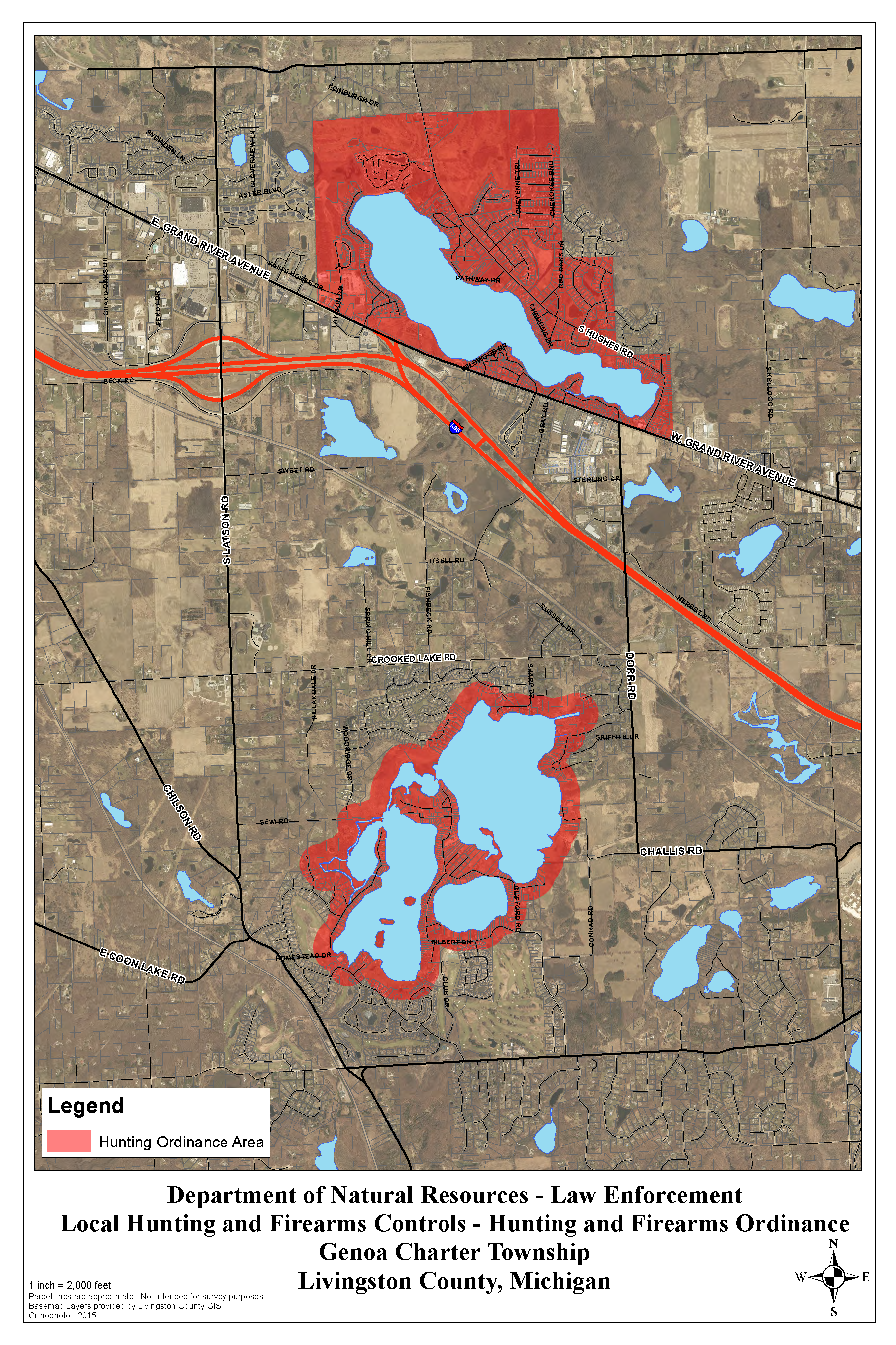 Map of prohibited hunting areas in Genoa Township
